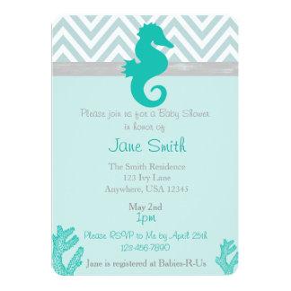 Teal Seahorse Beach Themed Baby Shower Invitation