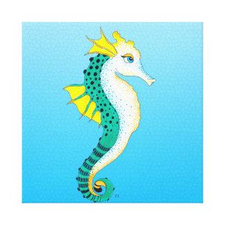 teal seahorse blue canvas print