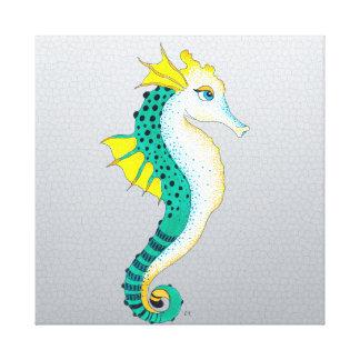 teal seahorse grey canvas print
