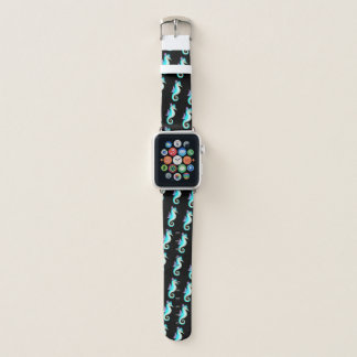 Teal Seahorse On Black Apple Watch Band