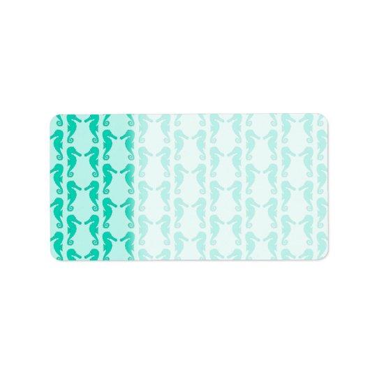 Teal Seahorse Pattern Address Label