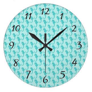 Teal Seahorse Pattern Large Clock