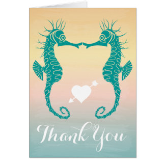 Teal Seahorse Thank You Blue, Peach Beach Sunset Card