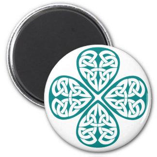 Teal Shamrock Celtic Knot Fridge Magnets