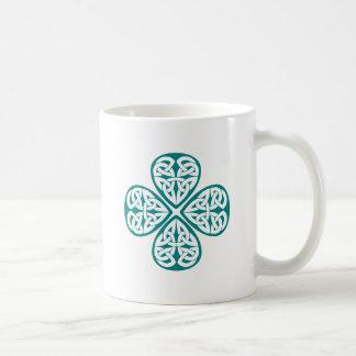 Teal Shamrock Celtic Knot Mugs