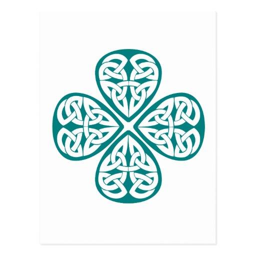 Teal Shamrock Celtic Knot Postcards