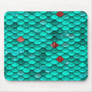 Teal Shimmer and Ruby Fish Scales Pattern Mouse Pad