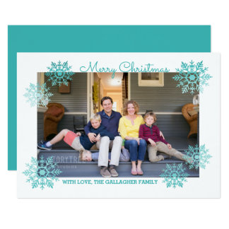 Teal Shimmering Chic Snowflake Holiday Photo Card