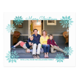 Teal Shimmering Chic Snowflake Holiday Photo Postcard