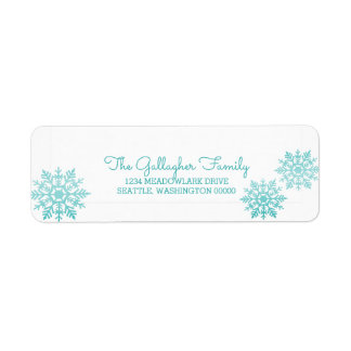 Teal Shimmering Chic Snowflake Holiday Return Address Label