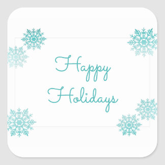 Teal Shimmering Chic Snowflake Holiday Square Sticker