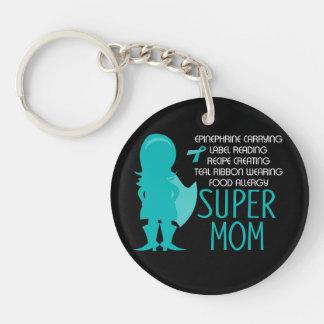 Teal Silhouette Food Allergy Super Mom Double-Sided Round Acrylic Key Ring