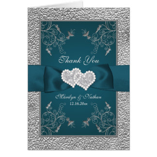 Teal, Silver Floral Wedding Thank You Card
