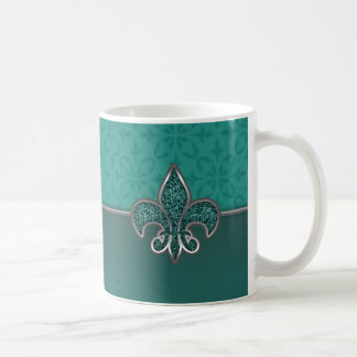 Teal Silver Glitter Fleur De Lis Basic White Mug