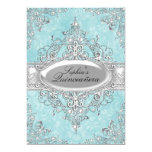 Teal & Silver Pearl Vintage Glamour Quinceanera 13 Cm X 18 Cm Invitation Card
