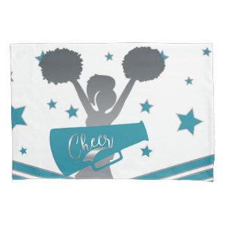 Teal & Silver Stars Cheer Cheer-leading Girls Pillowcase