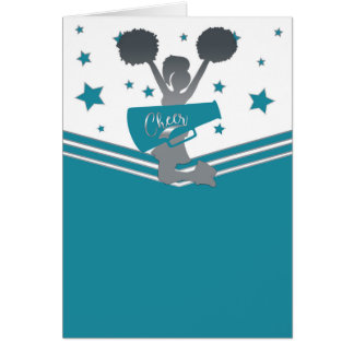 Teal Silver Stars Cheer-leading Thank You Card