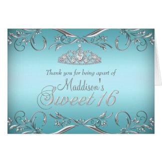 Teal & Silver Tiara Sweet 16 Thank You Card
