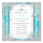 Teal Silver Winter Wonderland Sweet 16 Snowflake 13 Cm X 13 Cm Square Invitation Card