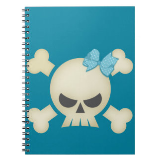 Teal Skull N Bow Notebook