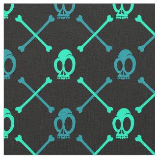 Teal Skull Pattern Fabric