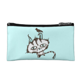 Teal Sky Kitty Two-Tone Cosmetic Bag