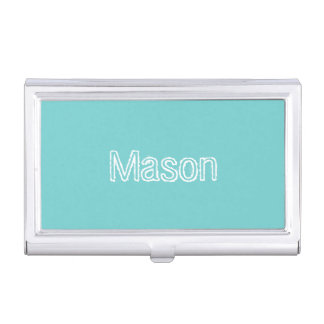 Teal Sky Personalised Business Card Holder
