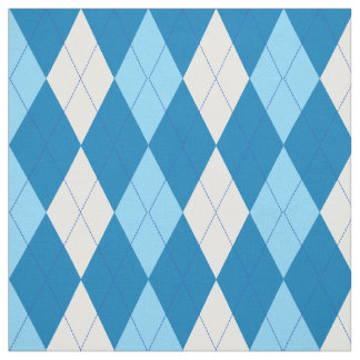 Teal | Skyblue | White Argyle Pattern Fabric