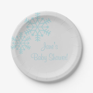 Teal Snowflake Baby Shower Paper Plates