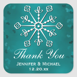 Teal Snowflake Thank You Label Square Sticker
