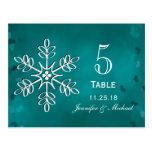 Teal Snowflake Wedding Table Number Cards Postcard