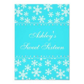 Teal Snowflakes Faux Diamond Sweet 16 11 Cm X 16 Cm Invitation Card
