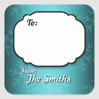 Teal Snowflakes Personalized Gift Tag stickers