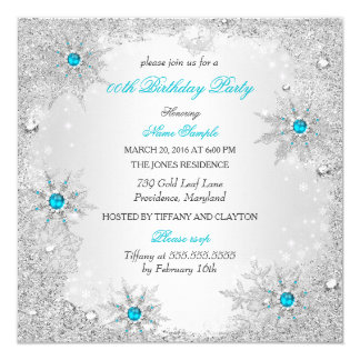 Teal Snowflakes Winter Wonderland Birthday Party Card
