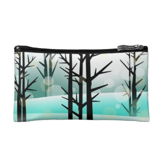 Teal Snowy Winter Forest Cosmetic Bag