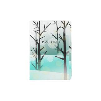 Teal Snowy Winter Forest Passport Holder