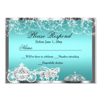 Teal Sparkle Princess Theme RSVP Reply Custom Invite