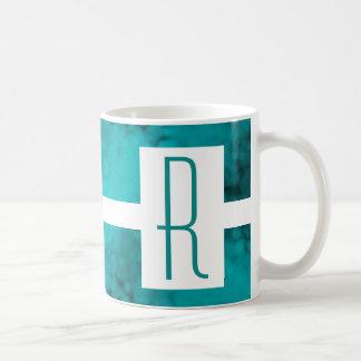 Teal Speckled Monogram Coffee Mug