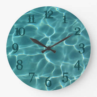 Teal Splash Numbers Swimming Pool Wall Clock