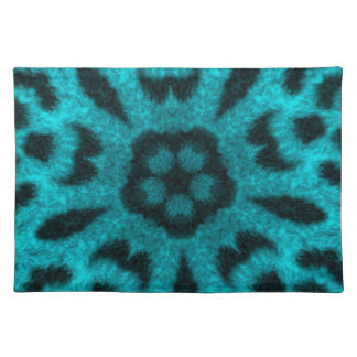 Teal Spotted Leopard Flower Kaleidoscope Placemats