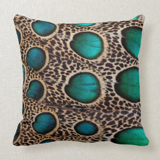 Teal Spotted pheasant feather Cushion