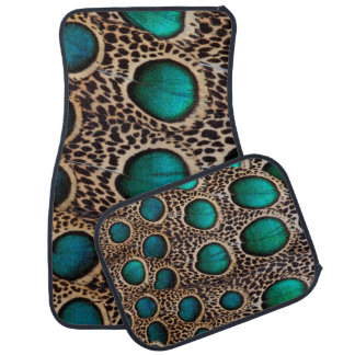 Teal Spotted pheasant feather Floor Mat