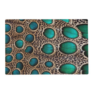 Teal Spotted pheasant feather Laminated Place Mat