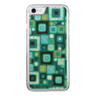 Teal Squares Pattern Carved iPhone 7 Case