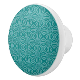 Teal Squiggly Squares Ceramic Knob