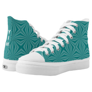 Teal Squiggly Squares High Tops