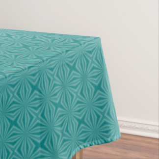 Teal Squiggly Squares Initial on White Circle Tablecloth