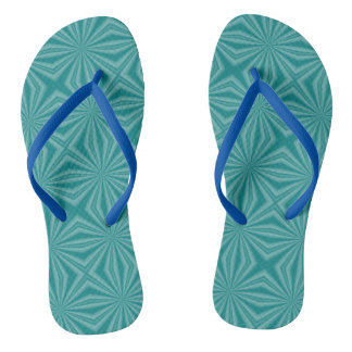 Teal Squiggly Squares Thongs