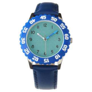 Teal Squiggly Squares Watch