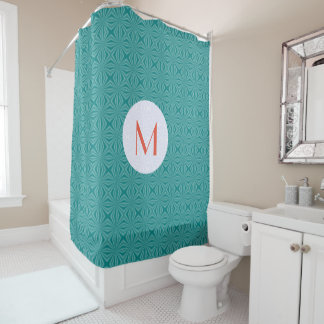 Teal Squiggly Squares with Initial Shower Curtain